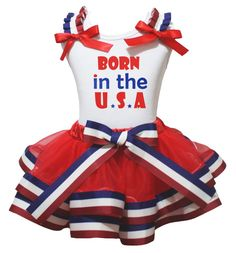 Petitebella Born In The U.S.A White Shirt RWB Stripes Red Petal Skirt Set Nb-8y (3-12 Months). a shirt, a skirt. made by lightweight material. stretchy and comfortable cotton shirt. 4-layers fantastic skirt. outfit in born in the U.S.A design.