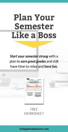 Plan your college semester like a boss. Start your semester strong with a plan to earn great grades and still have time to relax and have fun. College Semester, New College, College Years, Online College, College Humor, College Life, College Motivation, Study Motivation, Year Planning