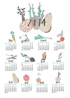 New Wall Calendar limited edition of 100 available on my shop here… move themes… Creative Calendar, Art Calendar, Calendar Design, Food Illustrations, Illustration Art, The Design Files, Graphic Design Art, Letterpress, Creative Design