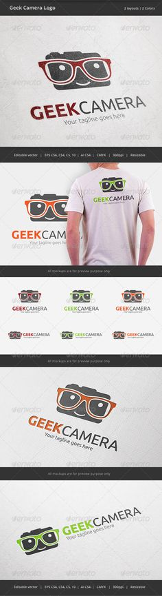 Geek Camera Logo Template Vector EPS, AI Illustrator. Download here: https://graphicriver.net/item/geek-camera-logo/6592226?ref=ksioks