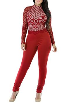 d6f2d7609ee7 Selowin Women Sexy Lace Long Sleeve High Waist Bodycon Club Jumpsuits  Rompers Red -- Click