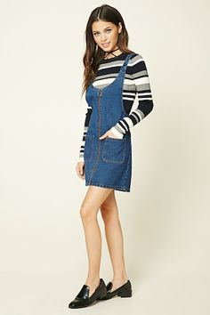Zip-Front Overall Dress
