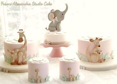 Soft Pink Mini Zoo Cakes with Giraffes, Elephant & Kangaroo