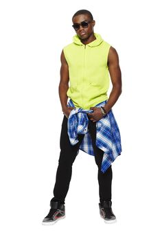 Sleeveless hoodies are the next big thing. Get a bright shade and wear it with a plaid and dark jeans. Very casual cool.