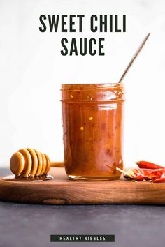 This delicious sweet chili sauce recipe is made with honey instead of sugar. It is great for dipping or for flavoring your stir fries. It takes only 6 ingredients and 10 minutes to make. You will definitely love it! #glutenfree #honey #chili #saucerecipes #sweetchilisauce