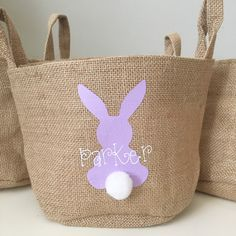 These personalized burlap Easter baskets are perfect for egg hunting, or receiving from the Easter bunny! With 9 different styles, and many colors to choose from, there is one for everyone to enjoy!