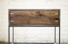 Myers End Table Black Walnut and Steel by KithandKinStore on Etsy Woodworking Furniture, Furniture Plans, Furniture Making, Wood Furniture, Furniture Design, Japanese Woodworking, Unique Furniture, Wood Turning, End Tables