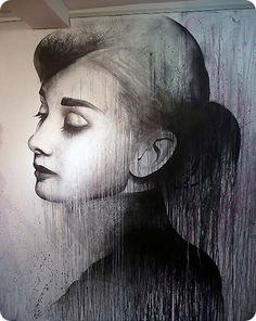 Audrey Hepburn. Black and White Mural by Ben Snow