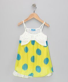 Take a look at this Yellow & Blue Polka Dot Bubble Top - Toddler & Girls by Sweet Bluette on #zulily today!