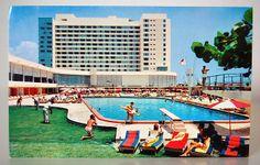 Vintage Retro Miami Beach Deauville Resort Postcard Flamingo Hotel