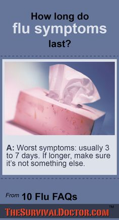 How long do the flu symptoms last? Here are more flu answers from The Survival Doctor: http://www.thesurvivaldoctor.com/2015/02/02/how-long-do-flu-symptoms-last/ .