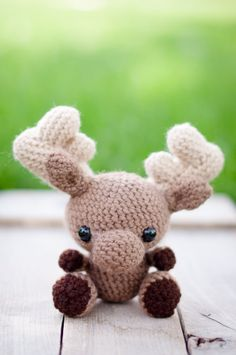 Crocheted moose - little moose doll - amigurumi moose - woodland animal - FREE SHIPPING!! - Made to Order