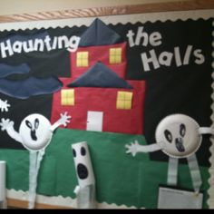 Halloween Bulletin Board Idea As part of a weekly shared writing activities. Kindergarteners created their own ghost story, and used this bulletin board to display their ghost story.