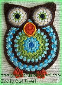 crochet owl: trivet