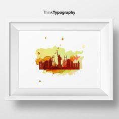New York Skyline, New York City, United States, Cityscape Art Print, Home Decor, Digital print, Minimalist, Mid Century Modern, Scandinavian by ThinkTypography on Etsy