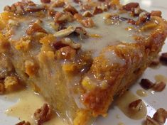 Greer's | Recipe - Lucy's Sweet Potato Bread Pudding with Vanilla Cream Sauce