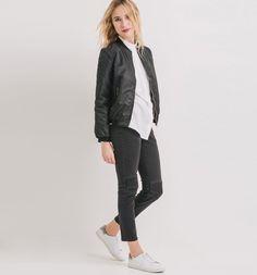 Bomber en nylon Femme noir - Promod