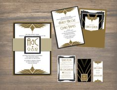Art Deco Wedding Pocket Invitation by PurpleSapphireDesign on Etsy, $12.00