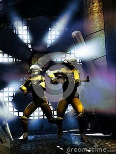 Two robots with their weapons, watching inside a corridor close to a big fan.