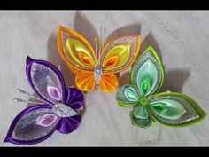 Satin ribbon butterfly / decoration / tutorial / Kanzashi butterfly/ DIY / Kanzashi satin ribbon / - Free Online Videos Best Movies TV shows - Faceclips Satin Ribbon Flowers, Ribbon Art, Ribbon Crafts, Fabric Flowers, Zipper Flowers, Diy Crafts, Fabric Butterfly Diy, Butterfly Crafts, Flower Crafts
