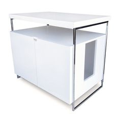 Based on the popular contemporary litter hider, the Large Cat Litter Box Enclosure allows you to easily conceal large litter pans and most automatic litter boxes. Two large swinging doors allow you to quickly remove the litter pan for cleaning. A couple of hooks inside allow you to suspend a bag and quickly remove waste. A solid top shelf adds a level of functionality, converting your litter box into a stylish piece of furniture — only you will know!