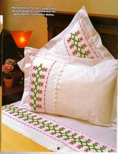Embroidery Monogram, Embroidery Patterns, Hand Embroidery, Cross Stitch Designs, Cross Stitch Patterns, Bed Covers, Pillow Covers, Bed Cover Design, Designer Bed Sheets