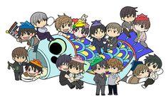 hehehe soo cute all the characters from sekai ichi hatsukoi and junjou romantica and yokozawa takafumi no baai