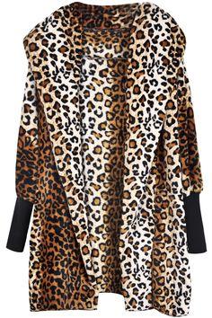 Leopard Hooded Long Sleeve Loose Outerwear EUR€19.70