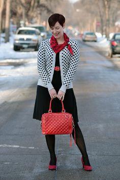 Already Pretty outfit featuring polka dot cardigan, vintage silk scarf, red stud belt, Rebecca Minkoff MAB Mini, black skater dress