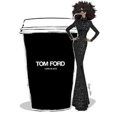 Megan Hess. My Monday Coffee girl. At the request of @wintourandguinness I have drawn a TOM FORD Long Black... Imagine how good that would taste!