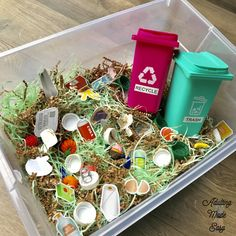 Differentiated recycle vs trash sorting and sensory task box! ♻️ Trash bins are pencil holders from the and I laminated the… Recycling Activities For Kids, Autism Activities, Sorting Activities, Montessori Activities, Infant Activities, Preschool At Home, Preschool Crafts, Preschool Weather, Preschool Schedule