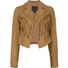 Paige cropped fringed jacket (2,595 BAM) ❤ liked on Polyvore featuring outerwear, jackets, brown, paige denim, fringe leather jacket, brown jacket, real leather jacket and cropped jacket