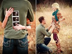 The sonogram picture may be one of the best pregnancy announcement pictures I've ever seen, so sweet! Probably would have my back to the camera and cheek on husband's chest with him holding sonogram on my back so you could see both of us smiling.