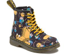 Start them off on the right foot with a kid-sized reproduction of our famous 1460 8-Eye boot. This season, Brooklee gets a fun new look with Finn and Jake, the intrepid heroes of Adventure Time. Set on our sturdy, flexible air-cushioned sole, the durable canvas upper is accented with yellow laces welt stitching and designed with a side zip and heel tab to make on and off a breeze. View All Adventure Time Collection