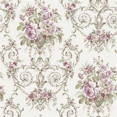 Off White and Purple Classical Floral Wallpaper