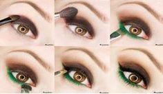 Maquillaje para Ojos con Sombras Marrón y Verde