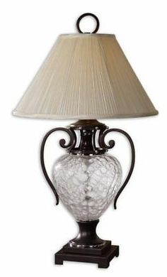 Metal Base Crackle Glass Pleated Round Shade Table Lamp