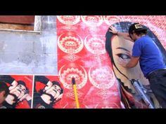 Back at SXSW 2009, Shepard Fairey came and created an installation outside Home Slice Pizza. Street art at its finest, with great pizza in proximity.