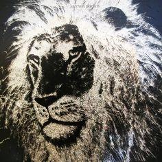 VINTAGE Old LION Animal Face ART BLACK STENCIL SILVER GLITTERS Glass Wood Frame $198 ... we sell more VINTAGE HOME DECORATIONS at http://www.TropicalFeel.com