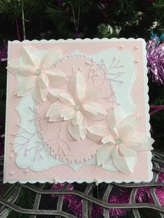 One of Barbara's using pink sherbet wow powder and blossom stamps