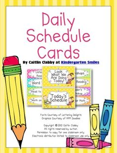 Daily Schedule Cards!! Picture cards included!! :) Great to go over your schedule and give your students a 'purpose'