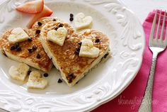 heart shape banana pancakes