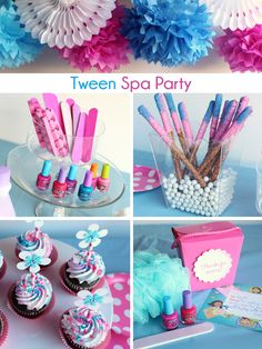 Party Ideas - décor, activities and sweets to serve!Spa Party Ideas - décor, activities and sweets to serve! Spa Party Foods, Spa Day Party, Kids Spa Party, Hotel Party, Girls Pamper Party, Sleepover Birthday Parties, Girls Birthday Party Themes, Bachelorette Parties, Makeup Birthday Parties
