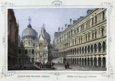 Venezia, corte dell Palazzo Ducale (National Library of Poland - 1847, lithography)