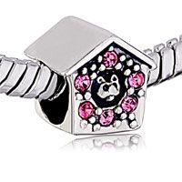 Cute Pink Crystal Kennel 925 Sterling Silver European Bead