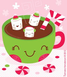 Hot Chocolate & Marshmallows. Illustration by Tamara Henderson