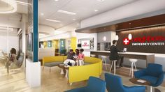 A Neighbors Health System waiting room 8,432 square feet wide is filled with different styles of Coalesse furniture including Bob Lounge Chairs, and items from the Circa Collection.