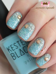 Sea shell nail art, for all the mermaids out there!
