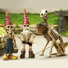 Skel-E-Gnome Garden Sculptures - SkyMall