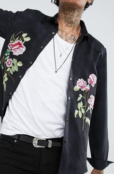 ASOS Festival Overshirt With Western Detail & Embroidery In Suedette  from ASOS (men, style, fashion, clothing, shopping, recommendations, stylish, menswear, male, streetstyle, inspo, outfit, fall, winter, spring, summer, personal)